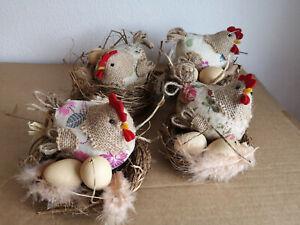 2er Set Easter Decoration Chicken Hen Eggs House Table Decoration, Easter Deco
