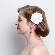White Black Striped Resin Ball Dangle Earrings handmade pinup rockabilly pierced