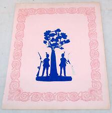ANTIQUE FOLK ART PAPER CUTTING CUTWORK PICTURE MILITARY RIFLE TREE PENNSYLVANIA