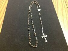 """Vintage Rosary Rosaries Brown Beads 16"""" Long Marked France Used"""