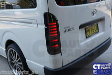 04-14 TOYOTA HIACE Smoke Black FULL LED 3D Light Bar Smoked Tail Lights