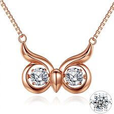 Reindeer Pendant 18k Rose Gold Plated 925 Sterling Silver Necklace Xmas Gifts