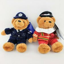 """Two Harrods Exclusives Plush Teddy Bears Police Bobby / Beefeater 6"""" Tall"""