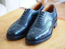 Sanders Braemar full brogue oxford shoes black leather 8 / 42 Made in England