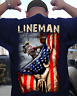 American Flag 4th Of July Patriotic Lineman Men Navy T-Shirt Backside