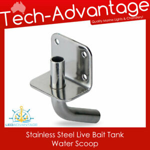 Boat Marine Stainless Steel 90° Angled Live Bait Tank Transom Mount Water Scoop