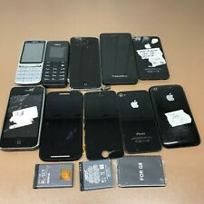 Bundle of 10 Old Mobile Phones Job Lot for Parts + Batt- iPhone-Blackberry-Nokia