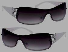 2ba8f59019 Diseño Gafas de Sol Mujer Blanco Plástico Gafas Gris Aro Plata Parche