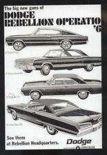 1967 DODGE CHARGER CORONET DART POLARA CAR DEALER ADVERTISING POSTCARD COPY