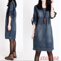 Womens Crewneck Stonewash Loose Fit Casual Dress Long Sleeve Jean Mid Long Dress