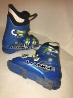 Lange RSJ 50 Power Blue Size 19.5 Junior Ski Boots Missing toe and Heal pad