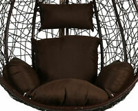 Brown Rattan Hanging Egg Chair Cushion Indoor Outdoor Detached Pads Swing Chair
