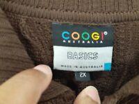 Authentic Coogi Sweater XXL Brown BIGGIE 90's Hip Hop Men's  Collard 3 Button !