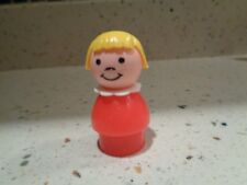 Vintage Fisher-Price Little People Red Plastic Girl w/Blonde Bob
