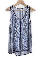 Witchery Blue Print Tank Top Size 8 Black Trim Pattern Sleeveless Casual Womens
