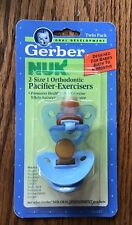 Vtg NOS 1992 Gerber NUK Pacifier-Exerciser New In Package 0-6 mon blue