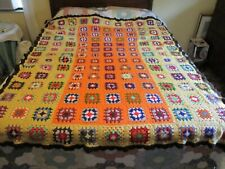 Crochet Granny Square Afghan Throw Blanket 75 x 53 Multicolor