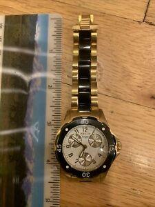 Invicta Chronograph Gold Tone Case Black ceramic Dial Running Watch 1656 Angel