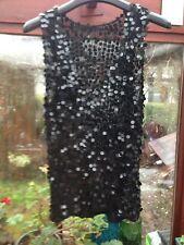 M & S~Size 16~Stretch~Jumbo Sequin~Semi Sheer Black Vest Top~Sparkly 🎄🎅🏻