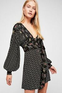 Free People Wonderland Mini Dress, Black Floral Combo, Size LARGE New with tag