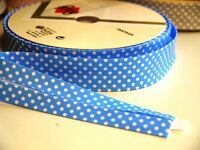 4m 18mm Blue with White Polka Dots Bias Binding, Edging, Trim