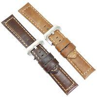 ZLIMSN Genuine Leather Watch Band Wrist Strap Silver Buckle 22 24mm Thick Brown