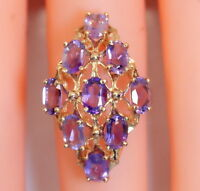 Gorgeous 14K Yellow Gold 4.5 Ct Oval Amethyst Cluster/Cocktail Ring Size 6
