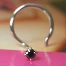 Indian Nose Piercing Ring Stud Pin 1.7mm Real Black Diamond 14k Gold