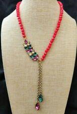 "Heidi Daus ""Nouveau Navettes"" Crystal Floral Drop Necklace FUSCHIA NIB"