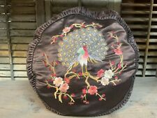 Antique Silk Pillow with Embroidered PEACOCK & APPLES APPLE BLOSSOMS Ruched Side
