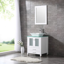 "24""  White Bathroom Vanity Solid Cabinet Ceramic Vessel Sink W/ Faucet Drain New"