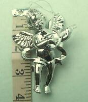 Vintage Silver Angel Christmas Cherub Ornament Plastic Playing Mandolin