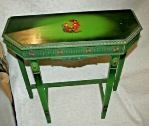 Antique Dark Green & Gilt Ornately Carved Wood Hall Table w/ Painted Asian Decor