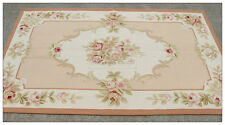 3X5 Shabby French CHIC PINK IVORY Aubusson Area Rug Home Decor Cream Carpet WOOL