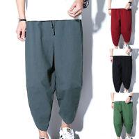 Summer Men's Casual Shorts Pants Loose Cotton Linen Fit Harem Wide Legs Trousers