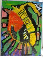 Original Oil Painting Modern Art Colourful Abstract Expressionist Medium Canvas