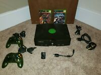 Original Microsoft Xbox Bundle w/ Halo Controllers, 2 Games, Cables, DVD Adapter