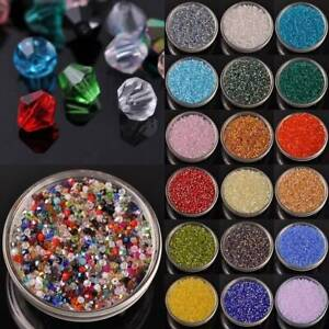 500pc 3mm Bicone Faceted Crystal Glass Loose Spacer Beads lot for Jewelry Making