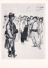 Théophile Steinlen Strike workers & Gendarme Russian Soviet postcard