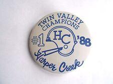 Vintage 1988 Harper Creek MI High School Twin Valley Football Champions Pinback