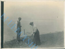Hilbre island Dee Estuary couple playing rough golf Edwardian Photo 4 x 3 inch