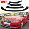 For Audi A3 8P S3 Front Bumper Cup Chin Spoiler Lip Valance Splitter Gloss Black