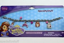 """NEW DISNEY SOFIA THE FIRST 7"""" CHARM BRACELET 2MM METAL CHARMS & FACETED BEADS PC"""