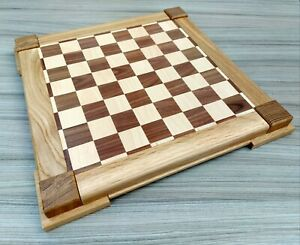 Wooden handmade one off oak walnut & beech chess board with 4cm squares