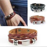 männer jahrgang mode metall, stahl manschette gespickt leder - armband armband
