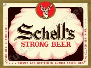 """SCHELL'S STRONG BEER LABEL 9"""" x 12"""" SIGN"""