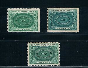 Canada - 1898-1920 - Special Delivery - 3 Color Shades - SC E1 [SG S1-S3] MNH H1
