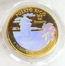 Peseta Letra D en HOLOGRAMA TORNASOL & baño Oro PUERTO RICO 24K Gold + Hologram
