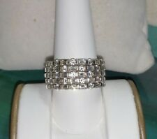 Gems en Vogue Michael valitutti Sterling silver cz wide 5 row baguette band ring