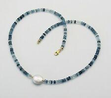 Aquamarin Kette - facettiere Aquamarine mit Perle 47,5 cm lang